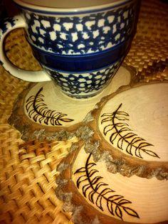 Leaf Motif Wood Burned Rustic NATURAL Wood Slices on Etsy, $15.00