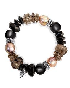 Beaded Jewelry, Beaded Necklace, Stephen Dweck, New Jewellery Design, Bracelet Display, Black Agate, Strand Bracelet, Smoky Quartz, Stretch Bracelets