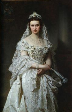 Find out more on Europeana Elizabeth Bathory, 1870s Fashion, Edwardian Fashion, European Dress, European Fashion, Female Portrait, Female Art, Crown Painting, The Woman In White