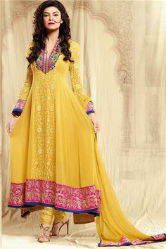 Luminous yellow shaded Georgette Semi-stitched Anarkali Shusmita Sen Suit. Get this suit at $143 USD