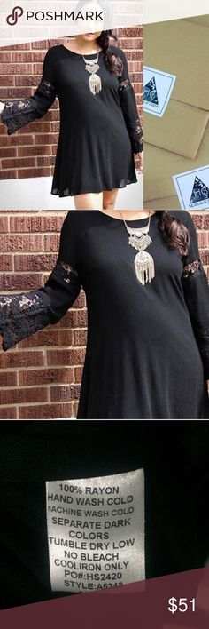 """CLEARANCE 🎈Black Long Sleeve Dress with Lace Medium Measures 34 inches Shoulder to Bottom Hem on a hanger. Fully lined. I am wearing a medium in this photo- I am 5'5, 155 pounds, 34DDD with a little """"mama pudge"""" 😜 Super Gorgeous customer favorite! Open to offers. No trades. Boutique Dresses"""