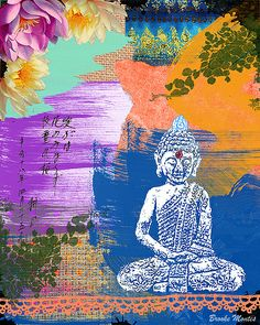 Beautiful Colorful Buddha Collage Art by Brooke Montes