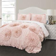 Lush Decor Serena Blush 3-piece Comforter Set
