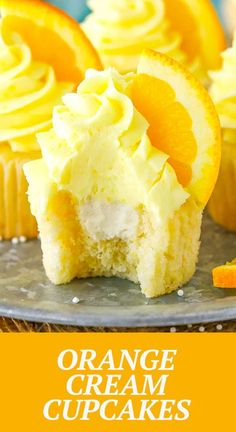 These Orange Cream Cupcakes are made with orange cupcakes and frosting and a light vanilla cream filling! Such a delicious cupcake and fun flavor! Orange Cupcakes, Yummy Cupcakes, Cupcake Recipes, Dessert Recipes, Orange Creamsicle, Vanilla Cream, Orange Recipes, Sweet Bread, Cup Cakes