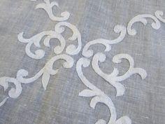 Stunning Reverse Applique Roses Amp Scrolls Madeira Organdy Tablecloth 8 Napkins | eBay