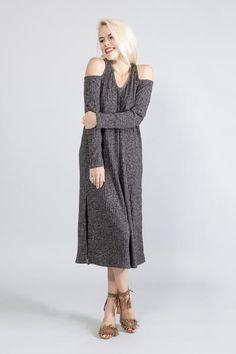 Cute, Sexy Cold Shoulder Slit Hem Long Dress Ribbed Knit  V-neck Cold shoulder Side slits on hem Unlined