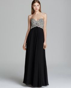 Decode 1.8 Gown - Beaded Bustier with Chiffon Skirt from Little Sale Birdy