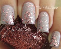 Who doesn't love glitter and Essie?! Perfect color combo; tan and pink.