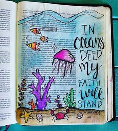 Up until recently I haven't felt led by the Holy Spirit to share my illustrated faith journey on social media. When I discovered Bible Journaling last September I was immediately intrigued. I became very passionate about spending time in His Word. Scripture Art, Bible Art, Bible Verses, Bible Verse Painting, Bible Drawing, Bible Doodling, Faith Bible, My Bible, Bible Notes