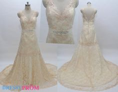 Hey, I found this really awesome Etsy listing at http://www.etsy.com/listing/159034720/elegant-v-neck-champagne-lace-wedding