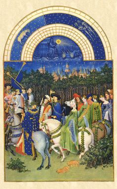 Les Tres Riches Heures Du Duc de Berry (The Book of Hours), May. One of the more famous medieval sidesaddle images, it shows the same complex garb that the noblewoman would be wearing on foot.