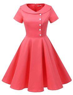 ALAGIRLS Womens 1950s Retro Rockabilly Swing Knee Length Dress Vintage Short Sleeves ALA1954-BlackXL at Amazon Women's Clothing store: