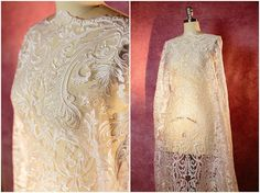Embroidery Lace Fabric Ivory Lace Wedding Lace by CoutureLace