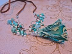 Blue Fabric Tassel Long Charm Necklace Antiqued by SimplyMim