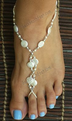 Sandy Pearls ~ Elegantly step into happily ever after with these barefoot wedding sandals. Crafted with free-form, freshwater pearls surrounded by silver plated and tan and white beads. They are truly gorgeous! The perfect accessory for a beach or destination wedding for the bride and bridesmaids, and the mothers of the bride and groom! Handmade Foot Jewelry For Anytime AnyWEAR!™ BecsBeachFeet.com