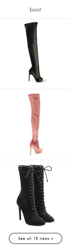 """boot"" by solonora ❤ liked on Polyvore featuring shoes, boots, botas y botines, thigh high leather boots, black leather over the knee boots, over knee boots, thigh boots, black thigh-high boots, pointy toe thigh high boots and pointed toe over the knee boots"