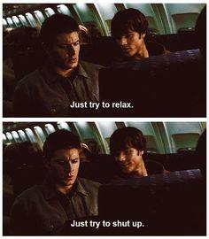 Ha!  Brothers...1x04 Phantom Traveler #Supernatural #DeanWinchester #SamWinchester