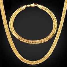 Gold Necklace Set Stamp Wholesale 2015 New Trendy Gold Plated cm Wide Necklace Bracelet Party Men's Jewelry Sets Mens Gold Jewelry, Black Hills Gold Jewelry, Or Noir, Gold Chains For Men, Beaded Choker Necklace, Necklace Set, Gold Earrings, Gold Necklaces, Bracelet Set