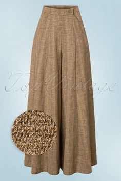 These 40s Luna Palazzo Trousers are inspired on the trousers that those progressive women in the 40s wore! Classy, timeless and comfortable! The high waist forms a beautiful contrast with the wide leg and is very flattering, especially with fuller hips/buttocks ;-) The side pockets create a playful detail and are super practical too. Made from a supple, breezy sand coloured fabric (doesn't stretch!) with a linen look which doesn't wrinkle. Style with a classy blouse for an...