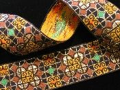IBERIAN TILES, BROWN,GOLD,GREEN, ORANGE ON BLACK vintage jacquard trim