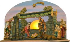"""Demetz Classico  6"""" 9 Piece Nativity Figure Set with Lighted Stable  with removeable Jesus! Includes: Holy Family, Gloria Angel, Three Kings, Seated Donkey and Seated Ox. 6"""" scale figures. (Item #34111) $185.00  SPECIAL PURCHASE!  NOW $149.95  Available Only While Our Supplies Last!"""