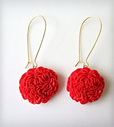 Pom Pom Earrings - Apple Red