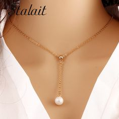 Trendy Multilayer Link Chain Necklace Alloy Gold Color Simulated Pearl Necklace Summer Fashion Jewelry Chain Women #Affiliate