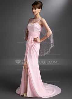 A-Line/Princess Sweetheart Court Train Chiffon Mother of the Bride Dress With Ruffle (008006422)