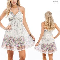 Floral Halter Dress with Braided Straps.