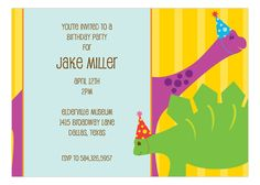 "Do you have a child who wants to study dinosaurs or ancient ruins? Do they have dreams of becoming an archeologist? Are they constantly digging things up in the garden, looking for old bones and adventure? Then you need these kid's Birthday invitations by Heatherly for your little one's next party. This Birthday Dinos Invitation has a ""dino-duo"" on the front of the invite: a purple brontosaurus and a green stegosaurus wearing party hats and smiling faces. The brontosaurus is standing behind…"
