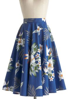 Coastal Break Skirt - Blue, Yellow, Green, Floral, Daytime Party, Beach/Resort, Pinup, Vintage Inspired, 50s, A-line, International Designer...