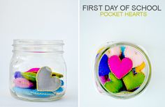 Pocket hearts for the first day of school