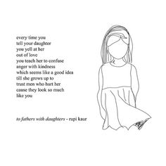 to fathers with daughters by Rupi Kaur with cartoon drawing of young girl, link to text version of poem