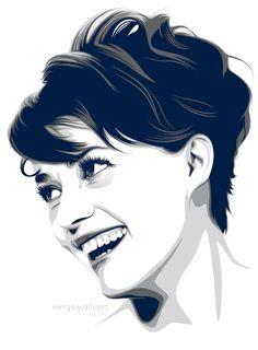 Jeanne Moreau by sergemalivert on DeviantArt Vector Portrait, Digital Portrait, Portrait Art, Portraits, Portrait Illustration, Digital Illustration, Jeanne Moreau, Art Sketches, Art Drawings