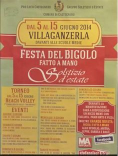 """Festa del bigolo fatto a mano e Solstizio d'estate - Homemade bigoli fest and Summer solstice, June 6-8 and 13-15, 2014, in Villaganzerla, Via Pasubio 1,  about  9 miles south of Vicenza, along Riviera Berica; food booths featuring bigoli with ragu, duck or hare sauce, grilled steak and a wide variety of pizzas open nightly at 7 p.m.; live music and dancing start at 9 p.m.; June 7, """"Welcome Americans"""" evening, a friendship-building  event in honor of the American residents."""