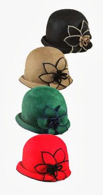 Jeanne Simmons: Stitched Flower Cloche, in Green/Blue, Red/Black, Black/Brown, $28.95