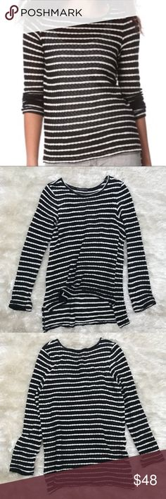 WHETHERLY Striped Lightweight Sweater Whetherly is the fashion house that owns Bauble Bar and J Brand. This striped sweater is a perfect staple for fall and winter. Back hem is lower than front. One small hole on back (see photo). Whetherly Sweaters Crew & Scoop Necks
