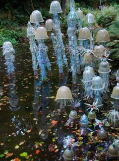 pond art from plastic bottles