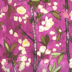 Vignette - Cherry Bloom- Berry Burgundy Purple by Laura Gunn from Michael Miller Cherry Blooms, Fabric Bouquet, Watercolor Effects, Watercolour, Bloom Blossom, Michael Miller Fabric, Comfort And Joy, Spring Blooms, Fabulous Fabrics