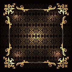 Luxury golden frame on a background with ornaments Free Vector Text Background, Paper Background, Walpapers Iphone, Molduras Vintage, Night Aesthetic, Letterhead Design, Photoshop, Borders And Frames, Pattern Images