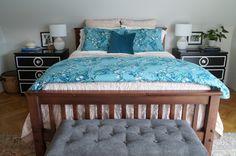 Aqua and blush bedding