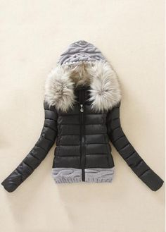 Fashion New Knitting Wool Splicing Hooded Winter Coat - Black