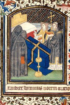 Cote Besançon - BM - ms. 0122 f. 092v Sujet Office funèbre Titre Heures à l'usage de Besançon Datation vers 1420-1440