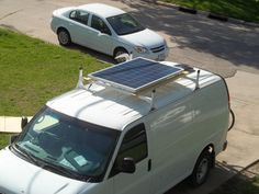 http://vantrekker.com/wp-content/uploads/Solar-view-from-above.jpg / mounted to roof rack and to power generator.