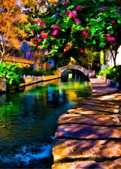 San Antonio Riverwalk.  Yes, this is artwork, but the coloring isn't too exaggerated :)