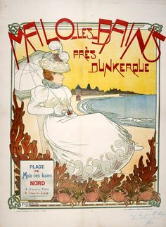 MALO LES BAINS  by poster artist HERDIN! This poster was printed in 1898 and is the original vintage poster! It depicts a health retreat in the Art Nouveau style, a popular graphic style during this time period.
