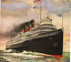 Great Lakes Steamer Greater Detroit Steamship Poster Original Roaring Twenties…