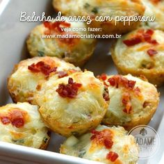Receita rápida Bolinho de Arroz com Pepperoni - Passo a passo com fotos - Rice and Pepperoni muffins Recipe - Madame Criativa - www.madamecriativa.com.br