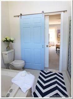 Bathroom Door Makeover bathroom gets a makeover using rolling door hardware | pocket