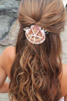 Mermaid Hair Comb, starfish and seashell accessory, beach wedding hair piece keepsake, mermaid accessory
